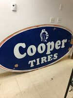 Vintage Gas Station Cooper Tire Painted Wooden Sign 8' X 4'