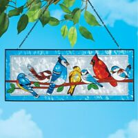 Stained Glass Look Colorful Songbirds Garden Patio Suncatcher With Hanging Chain