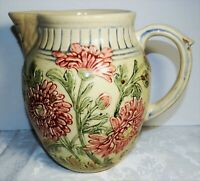 Antique Majolica Chrysanthemum Pottery Pitcher Pink Flowers Greens Blue