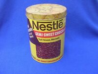 Vintage Nestle Semi-Sweet Chocolate Morsels Round Tin with Lid