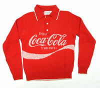 Vintage Coca Cola Coke Red Front Back Spell Out Polo Sweater Size M