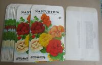 Wholesale Lot of 25 Old Vintage 1950's GIANT Size NASTURTIUM FLOWER SEED PACKETS