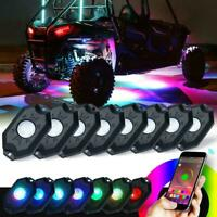 8-Pods RGB LED Rock Lights Wireless Bluetooth Music Controlled ATV UTV RZR Boat