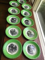 digoin sarreguemines france Set Of 11 Months plates French Kitchen Collage Green