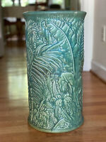 Vintage Weller Pottery Umbrella Stand Green Tropical Foliage - NO Issues!