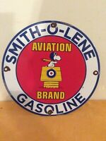 VINTAGE PORCELAIN SMITH O LENE SNOOPY GAS  AND OIL PUMP PLATE SIGN