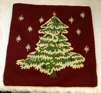 Pottery Barn Christmas Tree Crewel Embroidered Pillow Cover 18