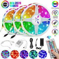 49FT Flexible Strip Light 3528 RGB LED SMD Remote Fairy Lights Room TV Party Bar