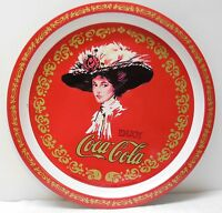 Coca Cola Tin Serving Tray Round Woman Fancy Hat Red White and Gold Vintage 1982