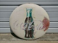 VINTAGE 36 INCH COCA COLA BUTTON WITH BRACKETS ORIGINAL