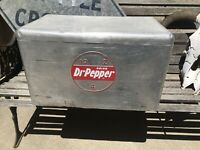 Vintage Dr Pepper Advertising Metal Ice Chest Cooler 10 2 4 Rare Version