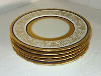 6 Antique French Porcelain Limoges Heavy Gold & Cobalt Blue Dinner Plates