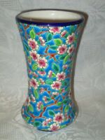 BEAUTIFUL LONGWY FLORAL ENAMELED VASE - Decore A La Main - Made In France