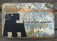 VTG ANTIQUE PAN AM CLIPPER CARGO PAMPERS PETS METAL SIGN AIRLINE  ADVERTISING