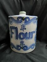 MA Hadley Pottery Bluette: Canister & Lid, Flour, 9 1/2