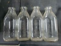 Lot 4 Vintage Milk Bottle MEADOW GOLD Square Quart Embossed lot 32 54