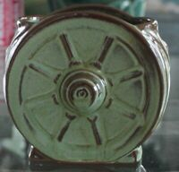 Frankoma Green Pottery Wagon Wheel Sugar Vase Creamer Table Decor