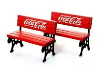 1996 Collectible Coca Cola Village Square 1Pkg two Red Benches
