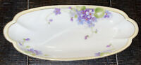 Vintage Hand Painted Nippon Nut Relish Candy Dish Violet Pattern w Gold Trim