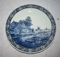 ANTIQUE LARGE DELFTS DELFT CHARGER BY BOCH BELGIUM BLUE WINDMILL HOLLAND 15.5quot;