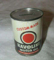 Valvoline Texaco Vintage Miniature Oil Can Bank w Paper Label 3quot; tall