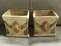 Pair of Weller Roma Cameo Kenova Square Planters Lovely Pastel Colors Die Stamp