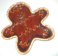 HULL POTTERY 10quot; BROWN DRIP GINGERBREAD MAN TRAY COOKIE PLATE EXCELLENT