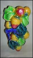 Made in Japan Wall Pocket Figural Fruit Leaves and Branches Majolica Style Color