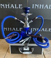 INHALE®️10 INCH 2 HOSE AVALANCHE SMALL PUMPKIN HOOKAH IN A HARD SUITCASE BLUE