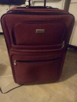 Hercules RED Durable Canvas Expandable Rolling Carry Luggage Suitcase 25quot;