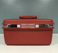 Vintage Red Samsonite Silhouette Train Hard Case Carry On W No Key Or Tray
