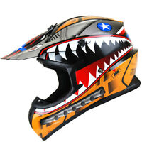 New Adult DOT Motocross Helmet MX BMX ATV Dirt Bike Storm Shark Orange S M L XL