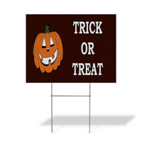 Trick Or Treat Halloween Corrugated Plastic Yard Sign /FREE Stakes