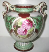 Antique  Nippon Beaded Urn Vase Handled Footed Jewels Roses  Pre 1891  Japan