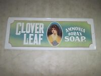 Vintage 1974 Clover Leaf Ammonia Borax Soap Tin Metal Embossed Sign Made In USA