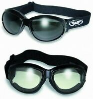2 Motorcycle ATV Riding Foam Padded Goggles-Sun Glasses-SMOKED & CLEAR Lenses