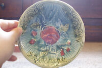 Majolica Green Blue Bowl Dish Pink Roses Flowers on Bowl Vintage Pottery