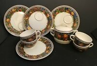 Vintage 9 PC  French Sarreguemines Digion Cups Sandwich Plates Sugar Cherries
