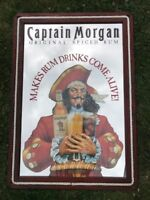 VINTAGE LARGE CAPTAIN MORGAN SPICED RUM BAR MIRROR SIGN WITH ROPE EDGING