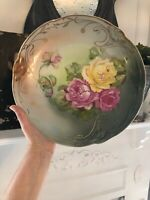 Antique CT Carl Tielsch Germany Hand Painted Gilt Server Charger Plate 12""
