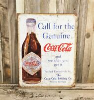 Coca-Cola Coke Drink Delicious Refreshing 5¢ in Bottles Red White Metal Tin Sign