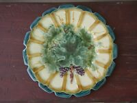Antique FFAS French Art Pottery MAJOLICA Notched Plate LEAVES GRAPES Teal Gold