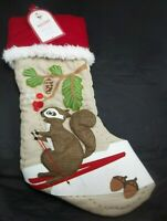 POTTERY BARN KIDS HOLIDAY WOODLAND STOCKING CHRISTMAS SQUIRREL NEW #1355