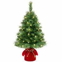 BCP 26in Pre-Lit Tabletop Christmas Tree w/ 35 Warm White Lights - Green