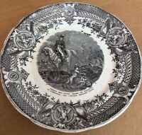 Antique French SARREGUEMINES Black Transferware NAPOLEON Battle 7 3/4