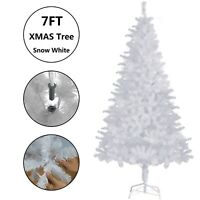 7FT Snow White Christmas Tree Metal Stand Artificial Xmas Holiday Indoor Outdoor