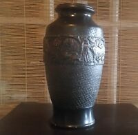 Antique Japanese Art Pottery Vase Marked MADE IN JAPAN Birds & Animals Relief