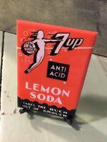 VINTAGE CELLULOID ADVERTISING POCKET MIRROR 7Up 7 Up Anti Acid Lemon Soda Grouch
