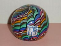 K B Koscherak Brothers ITALY Art Glass Paperweight Sticker Rainbow RIBBON MURANO