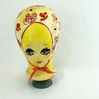 1960's Hand Painted Styrofoam Wig Stand by Mette Paris